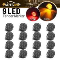 "Partsam 16Pcs 2 Inch Round Led Side Marker Lights 9 Diodes with Mini Reflectors Smoke Black Lens Trailer Truck RV 2"" Round Led Lights Submersible 12V Sealed (8Amber+8Red)"