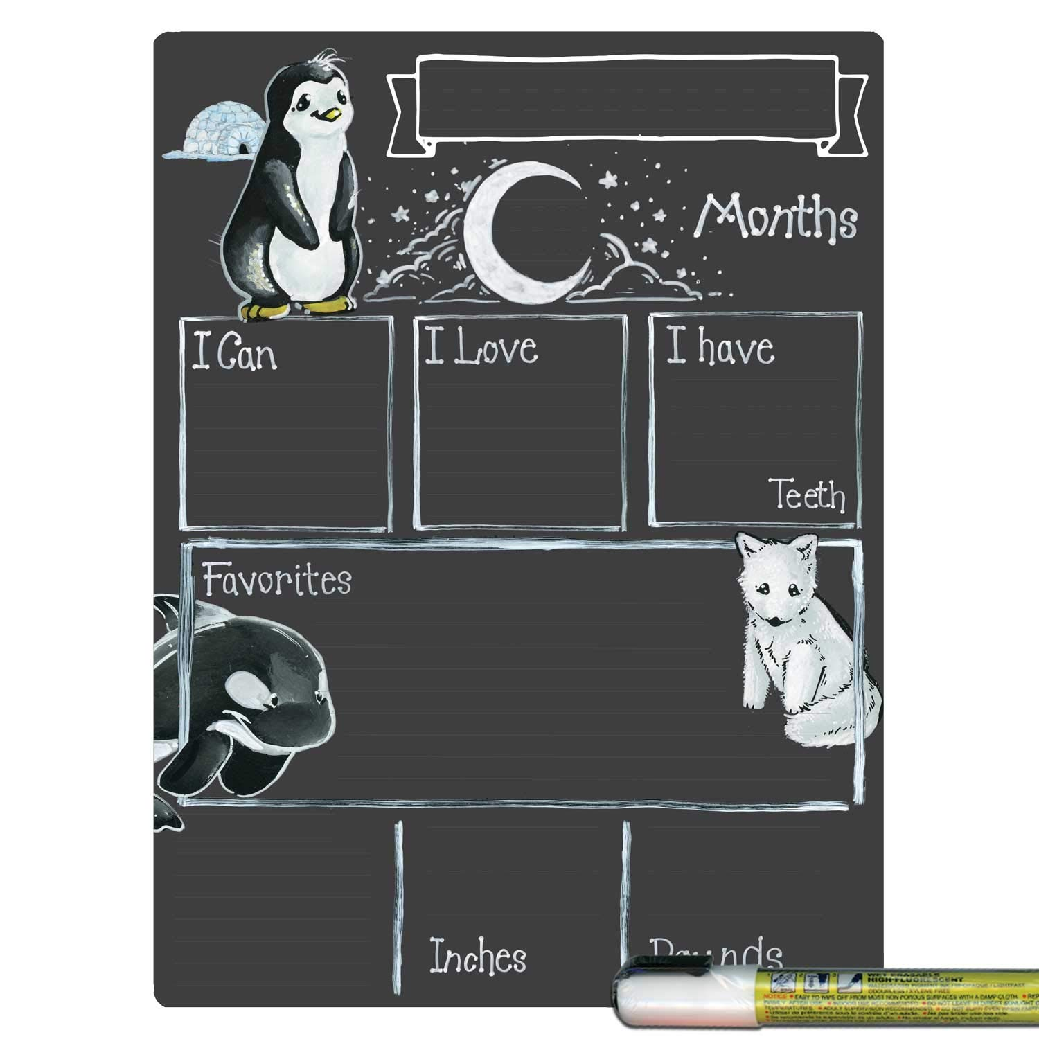 Cohas Monthly Milestone Board for Baby with Arctic Theme, Reusable Chalkboard Style Surface, and Liquid Chalk Marker, 9 by 12 Inches, White Marker