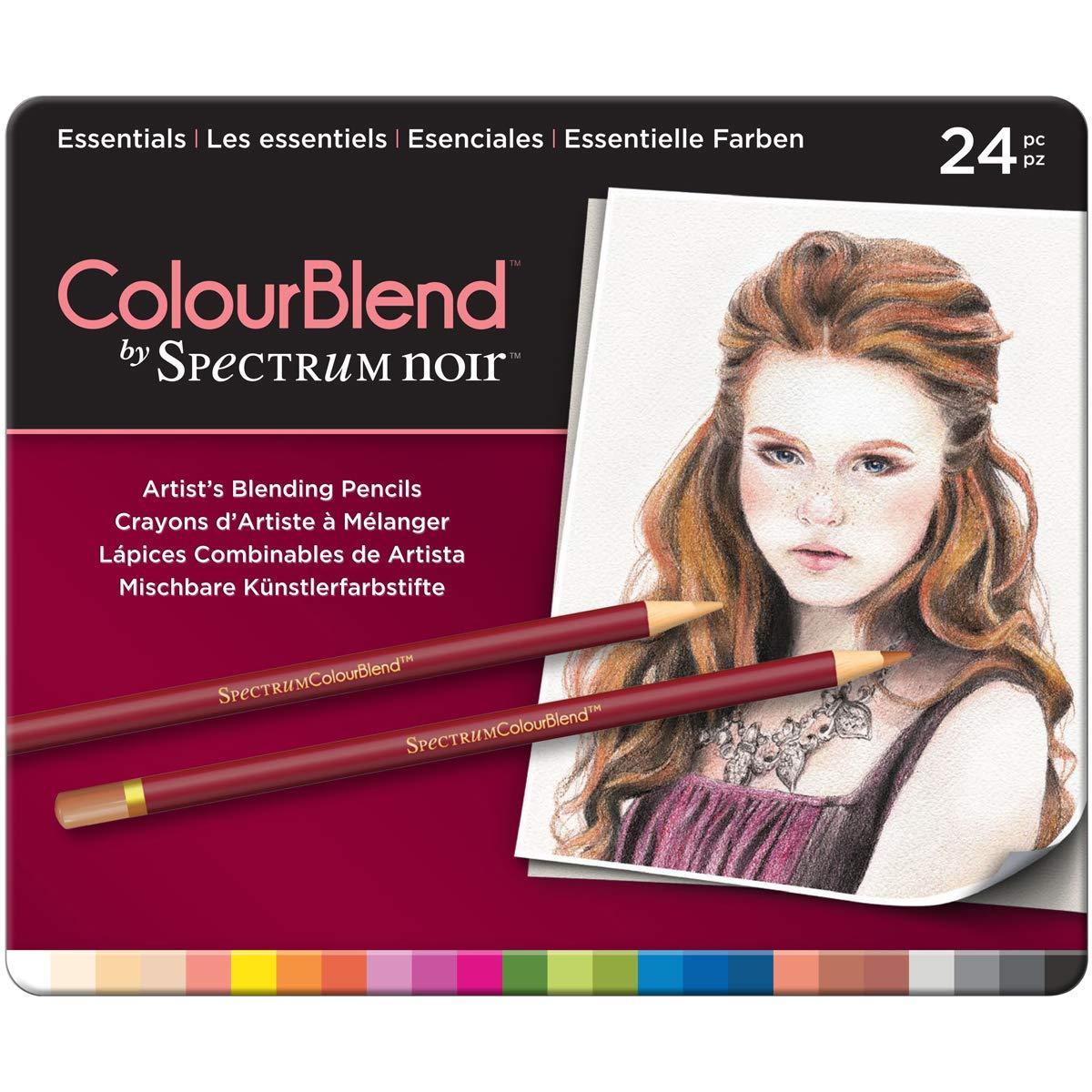 Spectrum Noir 24 Piece ColourBlend Premium Blendable Artists Pencils, Essentials, Pack of 24