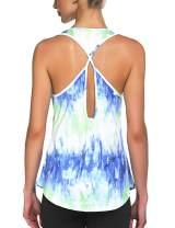 COOrun Workout Tops for Women Tie Dye Racerback Tank Yoga Shirts Sports Clothes
