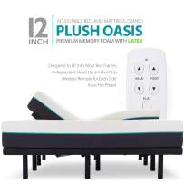 "Blissful Nights 12"" Cal King Split Premium Cool Medium Plush Ventilated Memory Foam with Latex Support Mattress and Adjustable Bed Frame Combo"