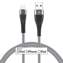 [2 Pack] Lightning Cable 6ft, CABEPOW Apple MFi Certified iPhone Charger Cable 6 Foot,Durable Braided Nylon Metal Connector Charger Cord for iPhone X/XS Max/XR/8 Plus/7/6/5/SE, iPad,ash Black