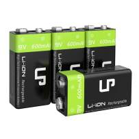 9V Rechargeable Battery Pack, LP 4-Pack 600mAh Li-ion 9 Volt Battery for Alarms, Wireless Microphones, Smoke Detectors, Toys, Flashlights, Guitar, Keyboard & More