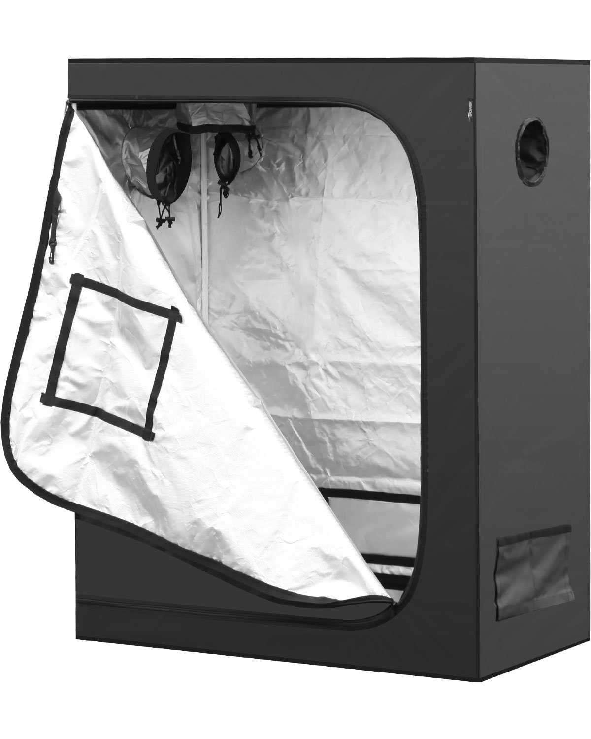 """iPower 48""""x24""""x60"""" Mylar Hydroponic Water-Resistant Grow Tent with Observation Window and Removable Floor Tray, Tool Bag for Indoor Plant Seedling, Propagation, Blossom, etc 2'x4'"""