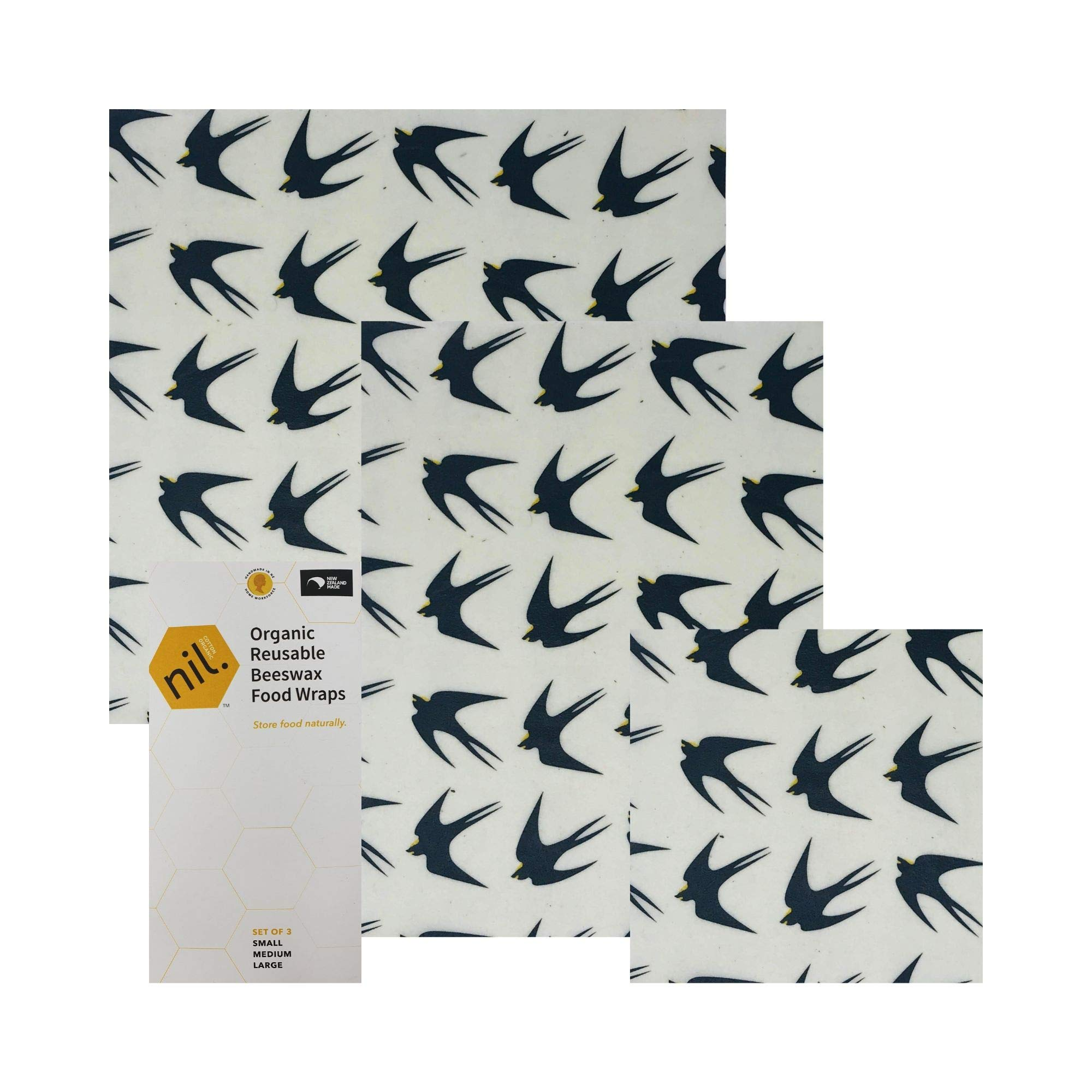 NIL beeswax food wrap - 3 pk reusable food wrap - no synthetic wax or chemicals - all organic and natural - holds up to a year - reusable beeswax food wraps with jojaba and manuka oil (Black bird)