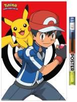 "Trends International Poster Clip Pokémon - Ash and Pikachu, 22.375"" x 34"", Poster & Clip Bundle"
