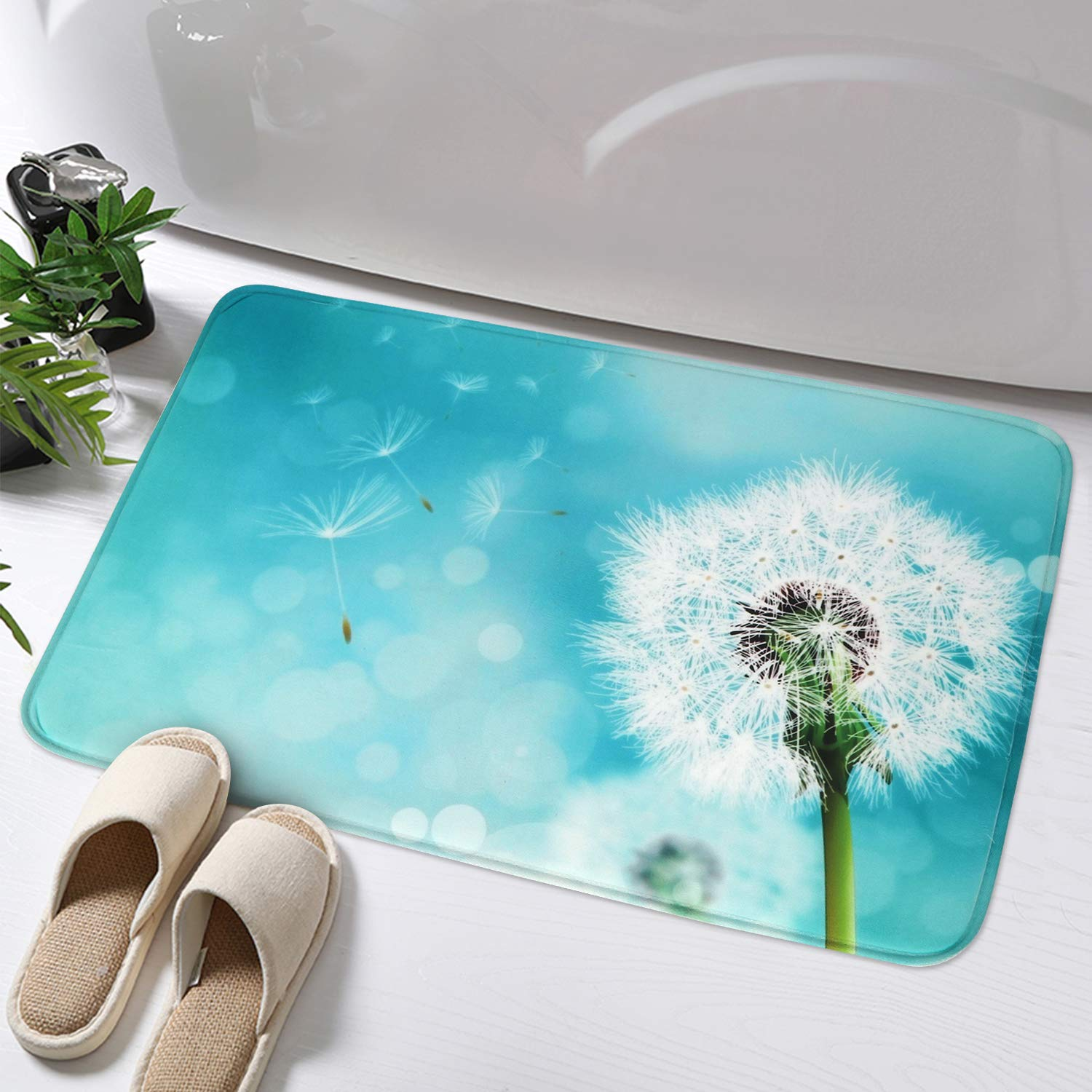 Haocoo Dandelion Kids Bathroom Rugs 16x24 Inch Non Slip Memory Foam Bath Mat Soft Velvet Bath Rug Machine Washable Floor Rug For Tub Shower