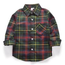 OCHENTA Little Girls Boys' Buffalo Plaid Tops, Button up Flannel Shirt Tops E012 Chris Green Tag 120CM - 4T