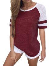 WD-Amour Women's Casual Round Neck Short Raglan Sleeve Baseball T-Shirt Tops(L,Burgundy)