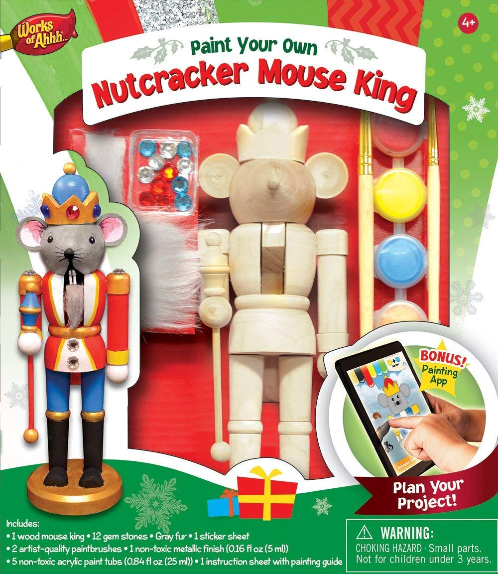 MasterPieces Works of Ahhh Christmas Real Wood Large Acrylic Paint Kits, Nutcracker Mouse King, for Ages 4+