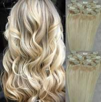 """Hair Faux You 20"""" Clip in Hair Extensions Real Human Hair 90g Clip on for Full Head 7 pieces, 14 clips, Silky Straight Weft Remy Hair Color #60 White Blonde (NOT the very Pale Blonde)"""