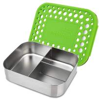 LunchBots Medium Trio II Snack Container - Divided Stainless Steel Food Container - Three Sections for Snacks On The Go - Eco-Friendly, Dishwasher Safe, BPA-Free - Stainless Lid - Green Dots
