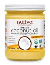 Nutiva Organic Coconut Oil with Butter Flavor from non-GMO, Steam Refined, Sustainably Farmed Coconuts, 14-ounce