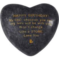 Dan and GUI Happy Birthday Gifts for Dad from Daughter or Son Handmade Natural Unique Engraved Stone Love Won't Change Like a Stone Heart Shaped Keepsake Personalized Rock Last Forwever