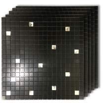"HomeyMosaic Peel and Stick Tile Backsplash Stick on Kitchen Wall Decor Aluminum Surface Metal Mosaic Smart Tiles Sticker,Black Glass Mixed(12""x12""x 5 Sheets)"