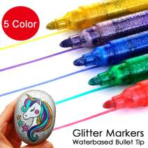 Lemical Glitter Paint Pens Bullet Nib Sparkle Gel Pen Markers Water-Based Markers Mother's/Father's Day Easter Egg Bunny Decor DIY Photo Album Drawing Glitter Pens, Acid Free, Non-Toxic & Safe