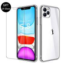 VATI Compatible with iPhone 11 Pro Case with Gift 1-Pack Screen Protector iPhone 11 Pro, Tempered Glass Back with Soft TPU Bumper Edge, Clear iPhone 11 Pro Cases Cover for iPhone 11 Pro 5.8 inch