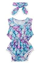 Ahegao Baby Girls Floral Jumpsuit Infant Romper Toddler Playsuits + Headband Outfits for 0-24 Months