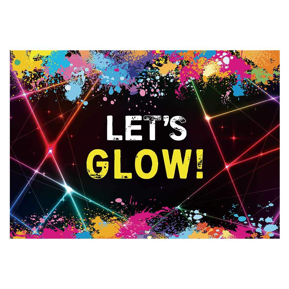 Funnytree 7X5ft Glow Neon Party Backdrop Colorful Laser Ray Splatter Photography Background Graffiti Spray Paint Disco Retro Dance in The Dark Night Photo Banner Decorations Photobooth Props
