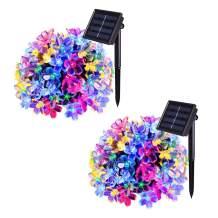JMEXSUSS 2 Pack 50 LED Flower Blossom Solar String Lights, 30.6ft 8 Mode Waterproof Solar Garden Lights for Outdoor Indoor Christmas Tree Patio Yard Parties (Blossom, Multicolor)