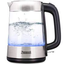 Zeppoli Electric Kettle - Fast Boiling and Cordless Glass Tea Kettle (1.7L) Stainless Steel Finish Hot Water Kettle – Hot Water Dispenser, Tea Pot Water Heater with Auto Shut-Off and Boil-Dry Protection