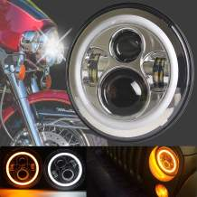 HOZAN 7inch Chrome Motorcycle LED Headlight with White/Amber Halo Ring for Harley Street Glide Fatboy Road King Indian Chieftain (1-Pack)