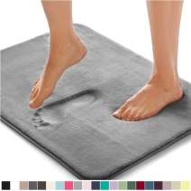 Gorilla Grip Original Thick Memory Foam Bath Rug, 24x17, Cushioned Soft Floor Mats, Absorbent Premium Bathroom Mat Rugs Rugs, Machine Washable, Luxury Plush Comfortable Carpet for Bath Room, Graphite