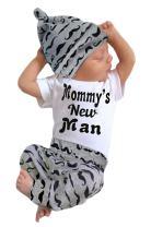 EGELEXY Baby Boys Summer Mamy's New Man Letter Short Sleeve T-Shirt + Pant+ Hat 3pcs