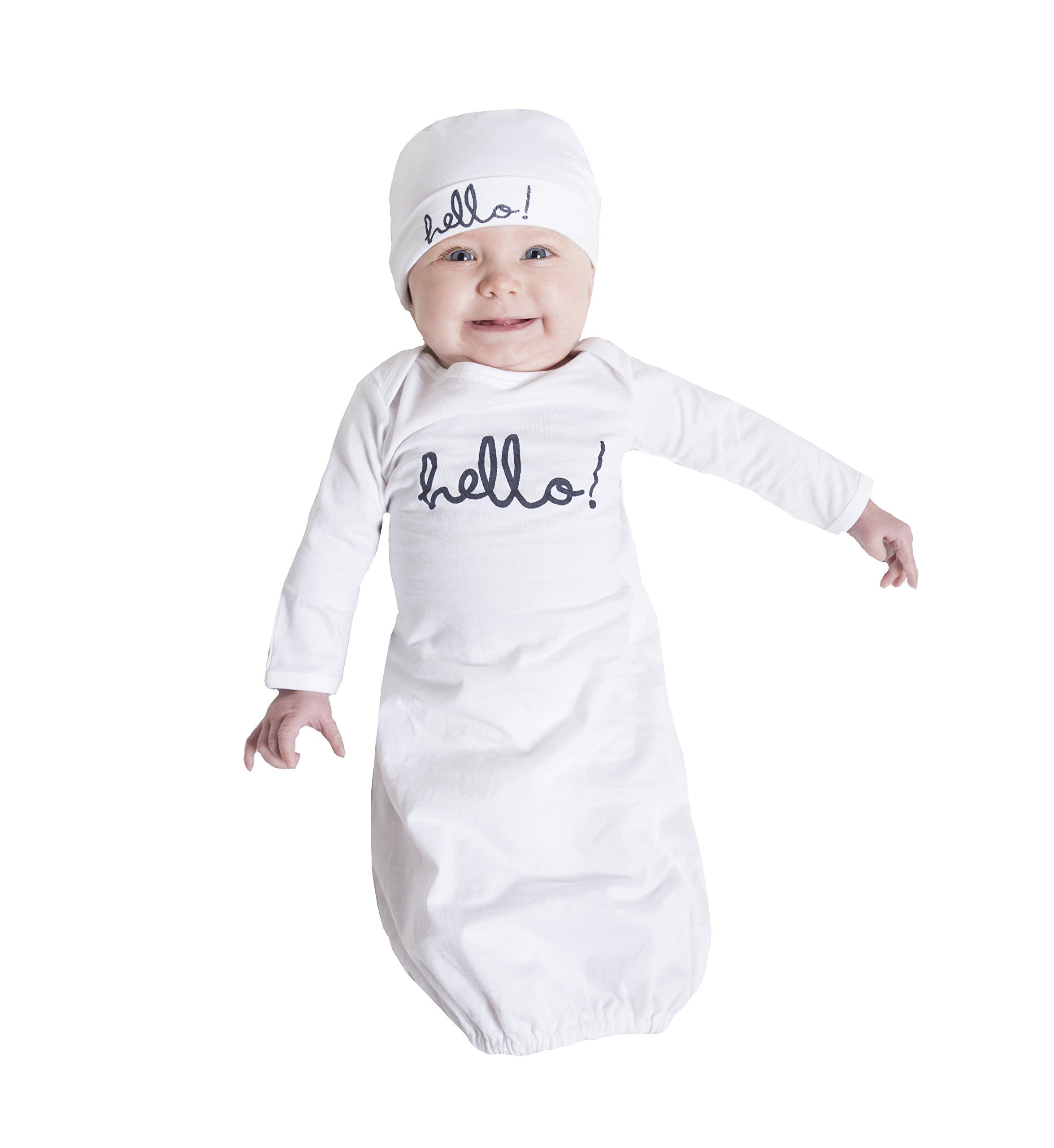Baby Be Mine Newborn Gown and Hat Set (Newborn 0-3 Months, White Hello)