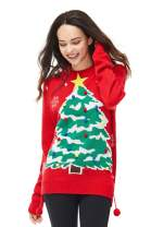 Women's Christmas Ugly Sweater Funny Knit Novelty Pullover Reindeer Pom Poms, Medium