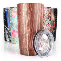 Pandaria 20 oz Stainless Steel Vacuum Insulated Tumbler with Lid - Double Wall Travel Mug Water Coffee Cup for Ice Drink & Hot Beverage, Wood Grain