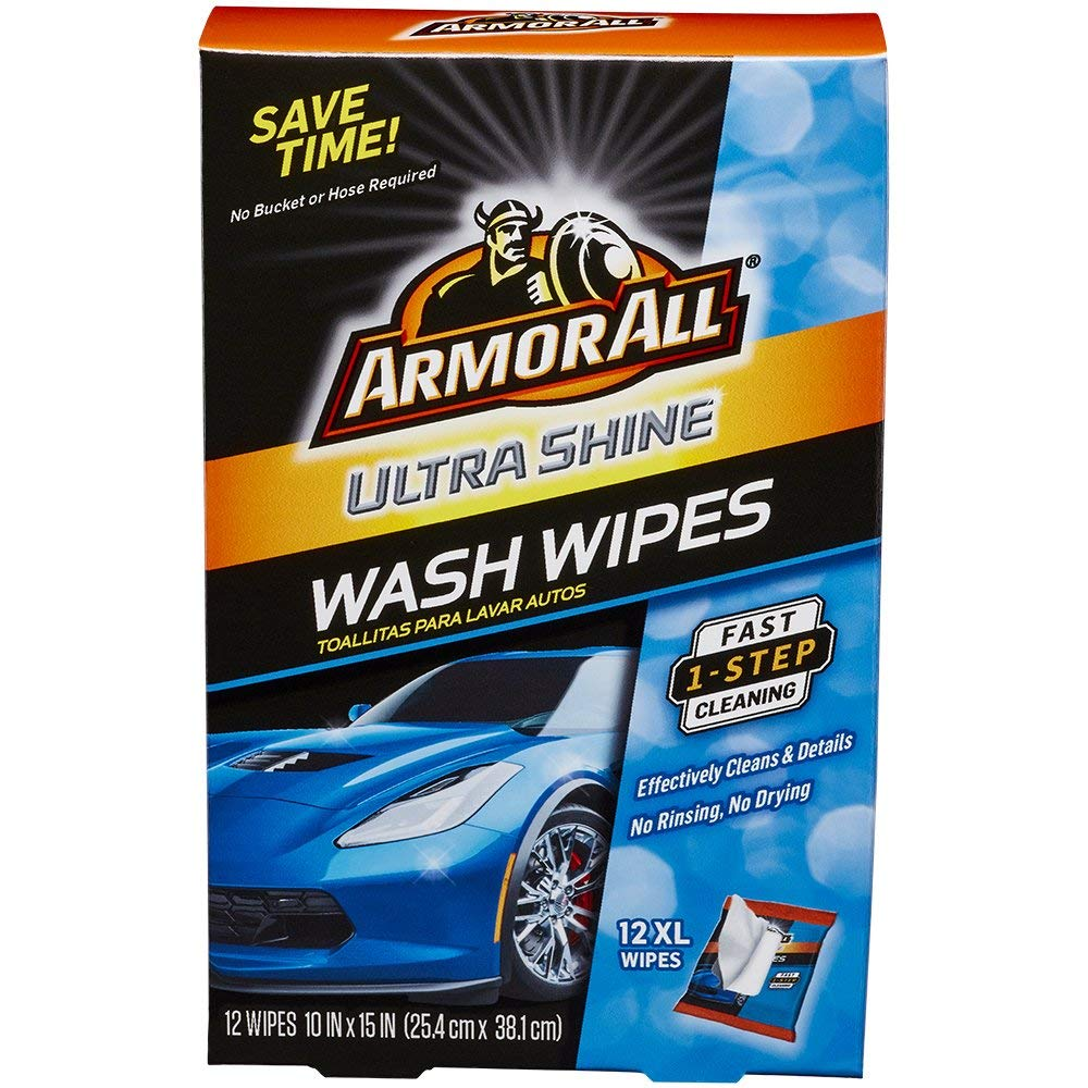 Armor All Car Wash Wipes - Interior Cleaner for Cars & Truck & Motorcycle, Ultra Shine, 12 Count, 18240