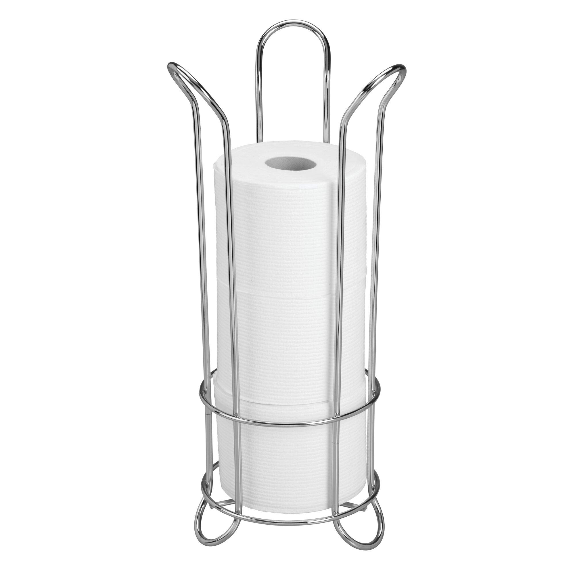 iDesign Classico Metal Toilet Tissue Roll Reserve Organizer for Bathroom, Compact Organizer, Holds 3 Rolls of Toilet Paper, Chrome