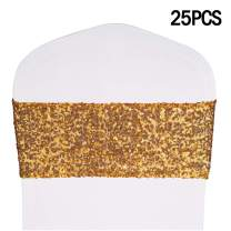 """Desirable Life Pack of 25 Stretch Sequin Chair Sashes Chair Bands One-Sided Sequins Decor for Hotel Wedding Reception Party Event Chair Cover Decoration 4""""x16"""" - Gold"""