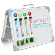 "Magnetic Whiteboard, Double Sided Dry Erase Board, Desktop Reminder Drawing Board, Portable Whiteboard Easel with 4 Magnets & 2 Eraser, 4 Magnetic Dry Erase Pens, 16"" X 12"""