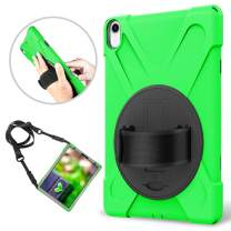 """iPad Pro 11"""" Case 2018 - eSamcore Rotating Hand Strap Protective Case with Built in Screen Protector for Apple iPad 11 Inch 2018 Release [Green]"""