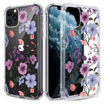 Caka Clear Case for iPhone 11 Pro Flower Clear Case Floral Pattern Design for Girls Women Girly Cute Slim Soft TPU Transparent Shockproof Protective Case for iPhone 11 Pro (Purple)