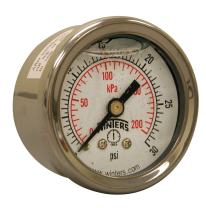 "Winters PFQ Series Stainless Steel 304 Dual Scale Liquid Filled Pressure Gauge with Brass Internals, 0-30 psi/kpa 1-1/2"" Dial Display, +/-2.5% Accuracy, 1/8"" NPT Back Mount"