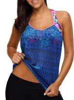 Aleumdr Women's Blouson Floral Printed Strappy T-Back Push Up Tankini Top S-XXL