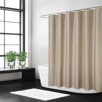 CAROMIO Fabric Shower Curtain, Flax Linen Like 240GSM Heavy Weight Cloth Shower Curtain for Bathroom with Hooks Hotel Luxury Washable, Taupe, 72x72 Inch