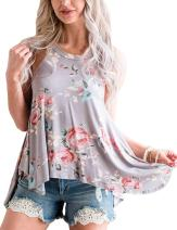 Tkria Women's Summer Floral Print Casual Tank Tops Sleeveless Racerback Basic Flowy Blouse Shirts