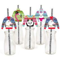 Big Dot of Happiness Wild and Ugly Sweater Party - Paper Straw Decor - Holiday and Christmas Animals Party Striped Decorative Straws - Set of 24