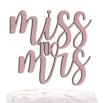 NANASUKO Bachelorette Party Cake Topper - Miss to Mrs - Double Sided Baby Pink Glitter - Premium quality Made in USA