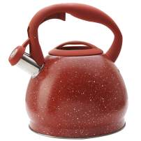ELEVATE LIFE PRODUCTS 3.0 Liter Tea Kettle, Natural Stone Marble Finish Stovetop Kettle with Anti-Hot Handle, Anti-Rust 18/8 Stainless Steel Food Grade Whistling Stove Top Tea Pot (Red)