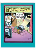 NobleWorks - Funny Mother's Day Greeting Card (8.5 x 11 Inch) - Jumbo Comic, Cartoon Humor for Mom - Superhero Regrets Bat Signal J0058