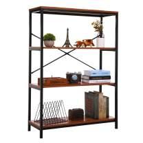 3 Shelf Wood Bookcase, Bookshelf Storage Shelves, 3 Tier Rustic Vintage Metal and Wood Bookcase and Book Shelf Storage Organizer for Bedroom Living Room (Rectangle, 3 Tier)