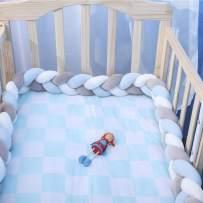 "EASTSURE Baby Crib Bumper Knotted Braided Plush Nursery Cradle Decor Newborn Gift Pillow Cushion Junior Bed Sleep Bumper,Grey,White and Blue,39"""