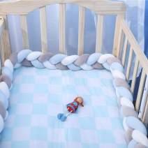 "EASTSURE Baby Crib Bumper Knotted Braided Plush Nursery Cradle Decor Newborn Gift Pillow Cushion Junior Bed Sleep Bumper,Grey,White and Blue,59"""