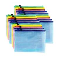 AUSTARK 20Pcs Zipper File Bags, Zippered Pouch, PVC Document Bag Zipper Folders Document Pouch Receipts Organizer for Office School Home Travel (A5 Size 9.2 x 6.7 Inches, Multicolored)
