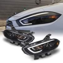 Fits 2013-2016 Dodge Dart Projector Headlights LED Light Bar Black Housing [Factory HID Models]